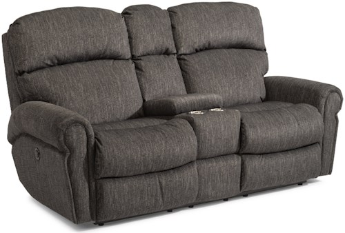 Flexsteel Langston Casual Power Reclining Love Seat with Storage Console and Cup Holders