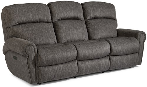 Flexsteel Langston Casual Power Reclining Sofa with Power Headrests and USB Ports