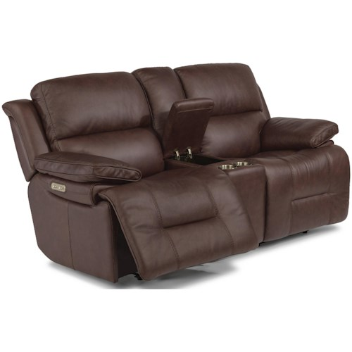 Flexsteel Apollo Casual Power Reclining Loveseat with Storage Console and Power Headrest