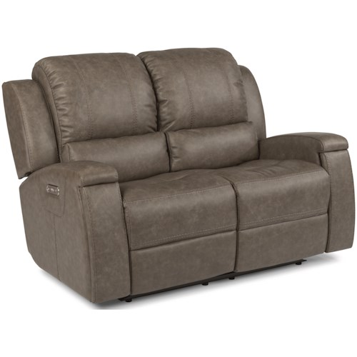 Flexsteel Latitudes - Asher Contemporary Power Reclining Love Seat with Power Headrest