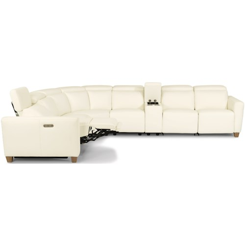 Flexsteel Latitudes - Astra Contemporary Seven Piece Power Reclining Sofa with Power Tilt Headrests and USB Charging Ports