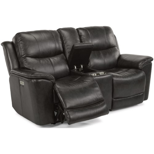 Flexsteel Latitudes - Cade Power Console Love Seat with Power Headrest and Lumbar