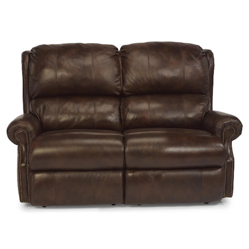 Flexsteel Latitudes - Comfort Zone Traditional Power Reclining Loveseat with Nailhead Trim