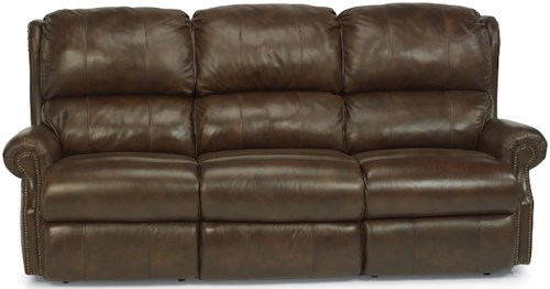 Flexsteel Latitudes - Comfort Zone Traditional Power Reclining Sofa with Nailhead Trim