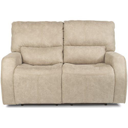 Flexsteel Latitudes - Cooper Contemporary Power Reclining Love Seat with Power Headrest and USB Port