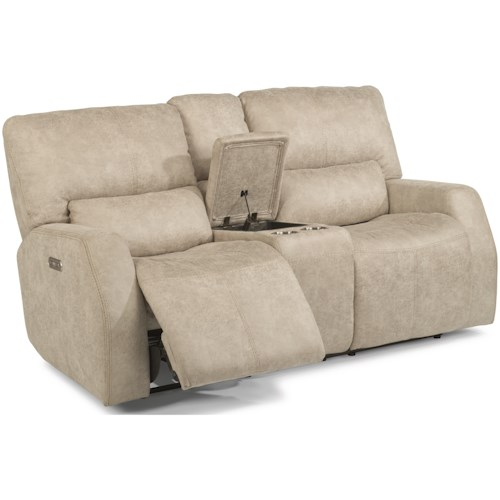 Flexsteel Latitudes - Cooper Contemporary Power Reclining Console Loveseat with Power Headrest and USB Ports