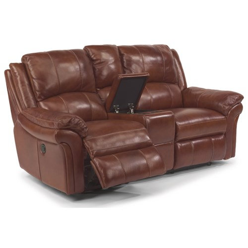 Flexsteel Latitudes - Dandridge Casual Power Reclining Love Seat with Drink Holder and Storage Console