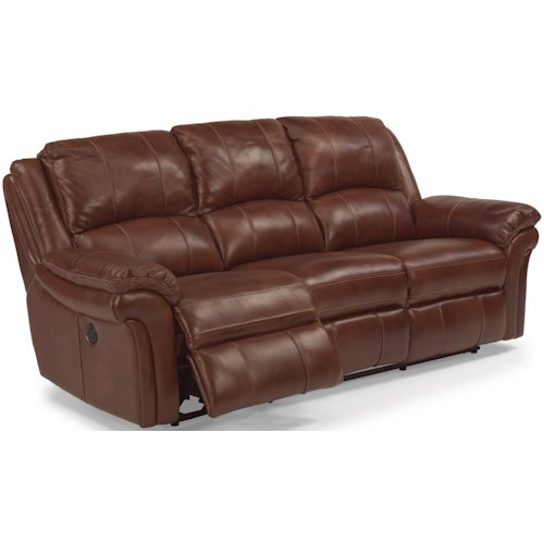Flexsteel Latitudes Dandridge Casual Power Reclining Sofa With Contrast Stitching