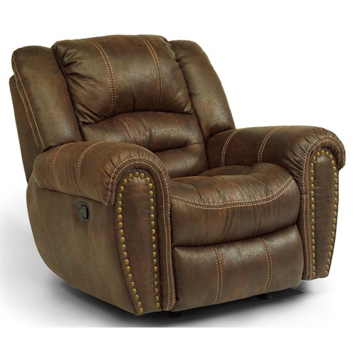 Flexsteel Latitudes - Downtown Transitional Power Recliner with Nailheads