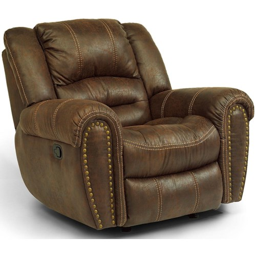 Flexsteel Latitudes - Downtown Transitional Glider Recliner with Nailheads