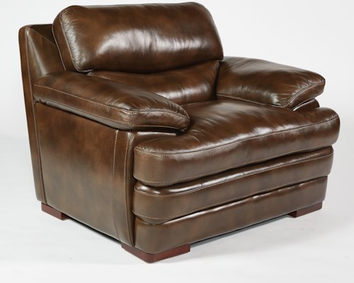 Flexsteel latitudes dylan leather chair with pillow top for Furniture 0 percent financing