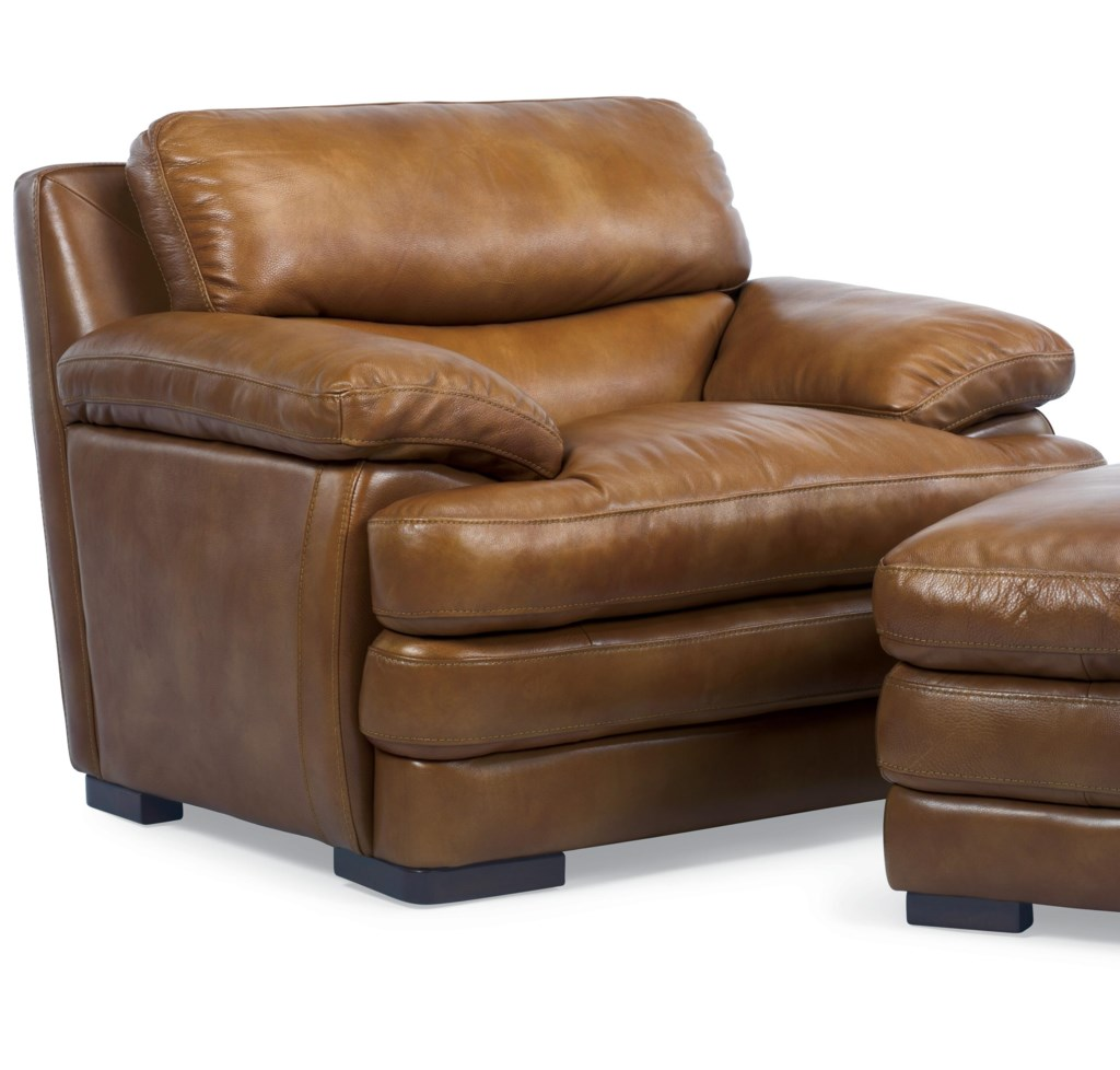 Flexsteel Latitudes Dylan Leather Chair With Pillow Top Arms