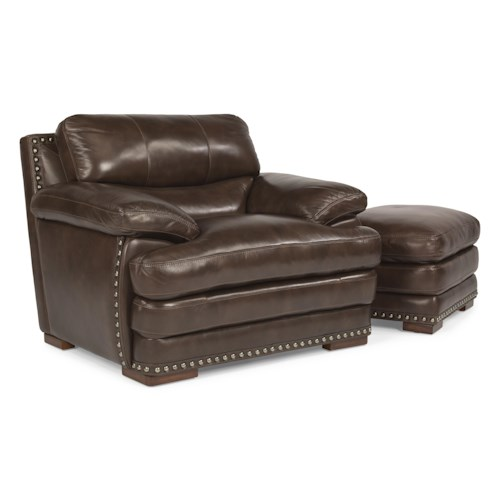 Flexsteel Latitudes - Dylan Leather Chair & Ottoman with Nailhead Trim - Flexsteel Latitudes - Dylan Leather Chair & Ottoman With Nailhead