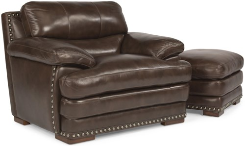 Flexsteel Latitudes - Dylan Leather Chair & Ottoman with Nailhead Trim