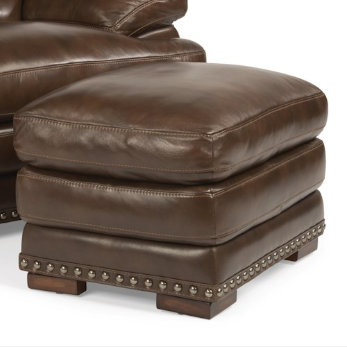 Flexsteel Latitudes - Dylan Double Top Leather Ottoman with Nailhead Trim