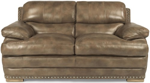 Flexsteel Latitudes - Dylan Leather Love Seat with Nailheads