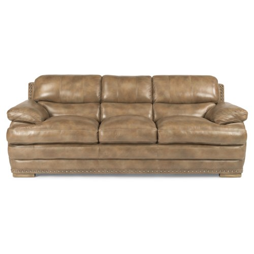 Flexsteel Latitudes - Dylan Leather Stationary Sofa with Nailhead Trim