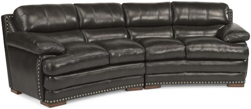 Flexsteel Latitudes - Dylan Leather Conversation Sofa with Nailhead Trim