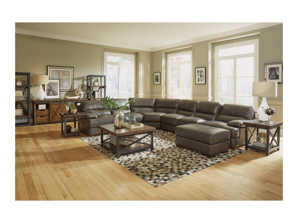 Flexsteel Latitudes - JadePower Back Reclining Sectional and Ottoman