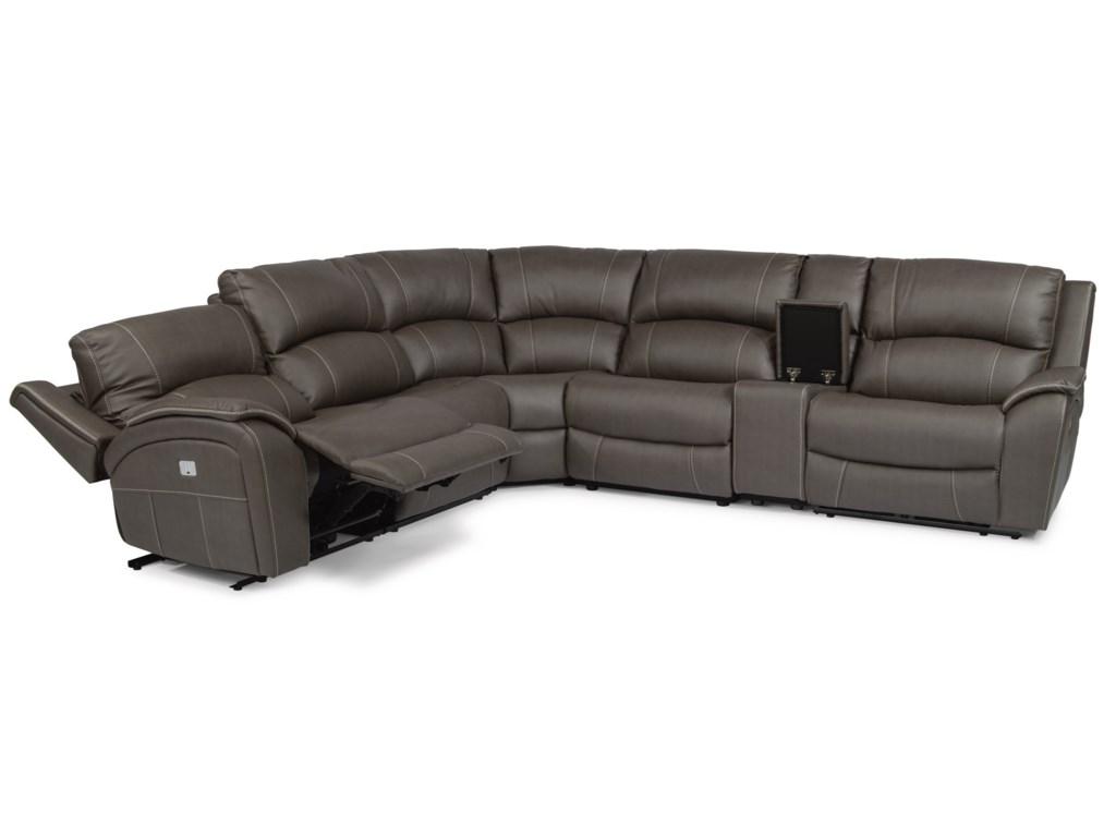 Latitudes - Marina Casual Power Reclining 4 Seat Console Sectional with  Power Headrests by Flexsteel at Broyhill of Denver