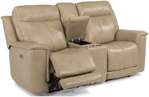 Power Reclining Loveseat With Power Headrests And