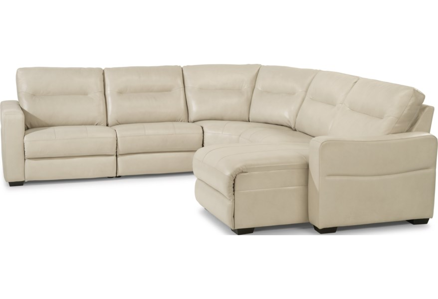 Flexsteel Latitudes Monet Contemporary 5 Piece Power Reclining Sectional With Power Headrests Powell S Furniture And Mattress Reclining Sectional Sofas