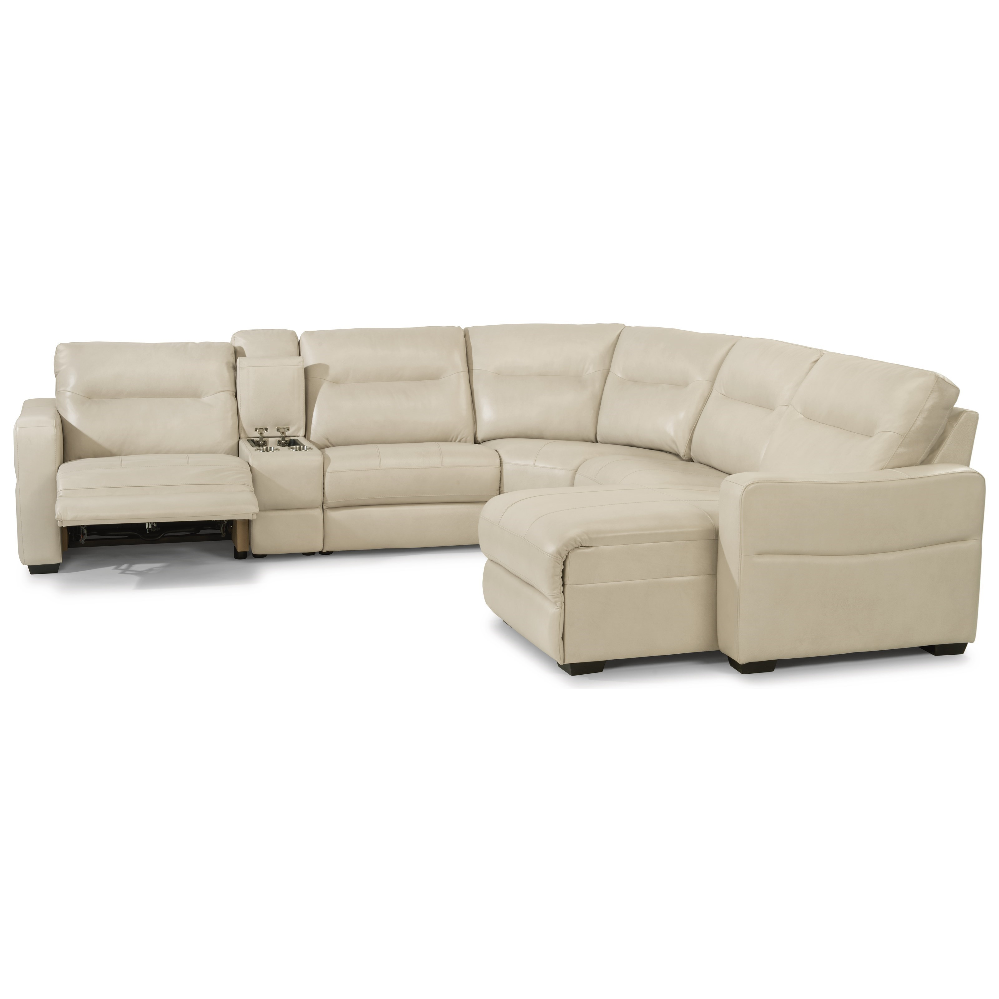 Contemporary 6 Piece Power Reclining Sectional with Power Headrests