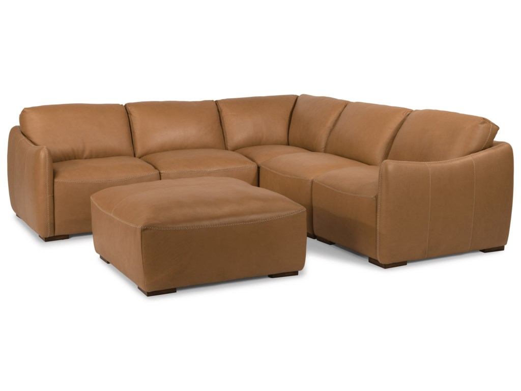 Latitudes - Morgan 6 Piece Leather Sectional with Ottoman by Flexsteel at  Rotmans