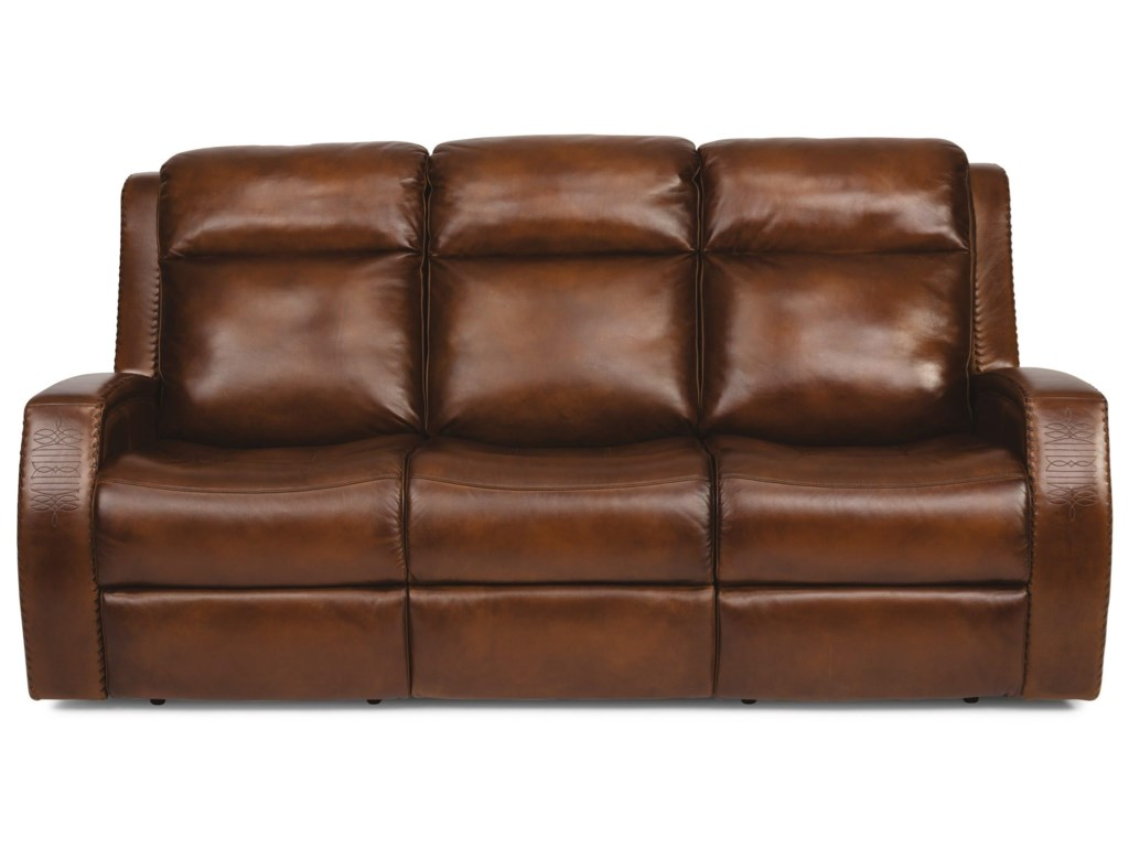 Latitudes - Mustang Rustic Leather Power Reclining Sofa with Southwest  Inspiration and Power Headrest by Flexsteel at Sam Levitz Furniture