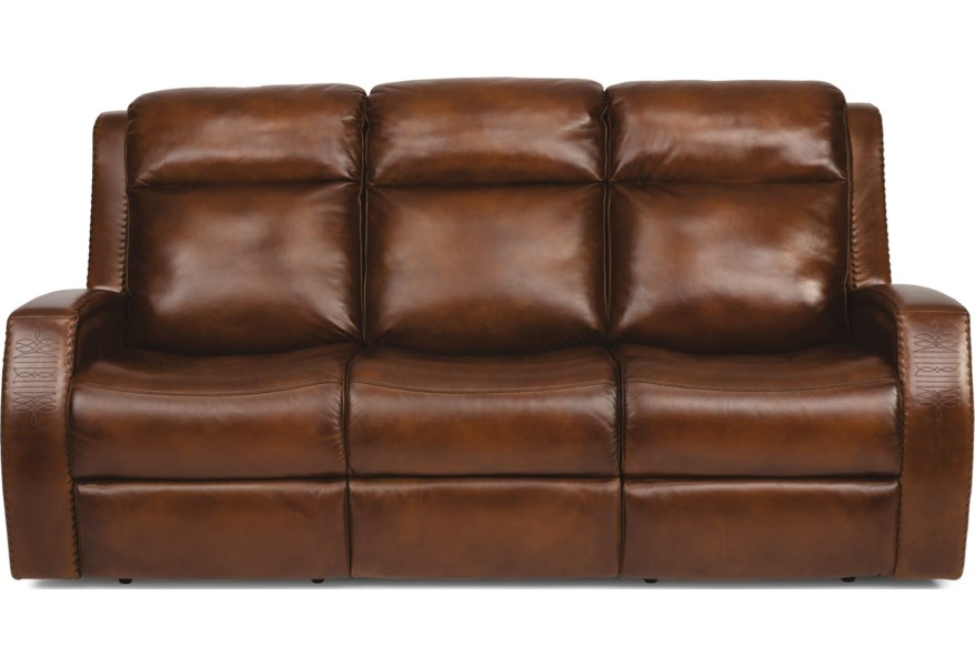 Rustic Leather Reclining Sofa