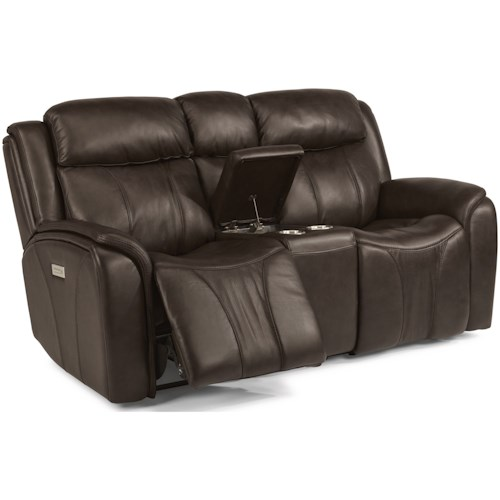 Flexsteel Latitudes - Paisley Contemporary Power Reclining Loveseat with Console and Power Headrest