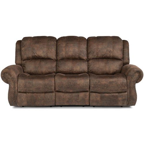 Flexsteel Latitudes - Patton Transitional Power Reclining Sofa with Power Headrest and Power Lumbar