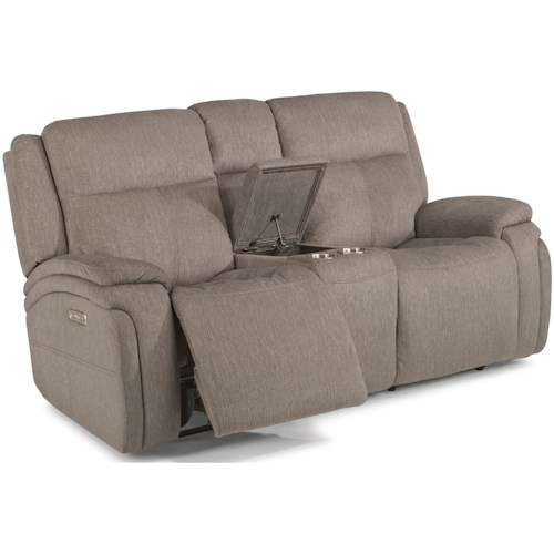 Flexsteel Latitudes - Rocket Contemporary Power Reclining Loveseat with Console and Power Headrest