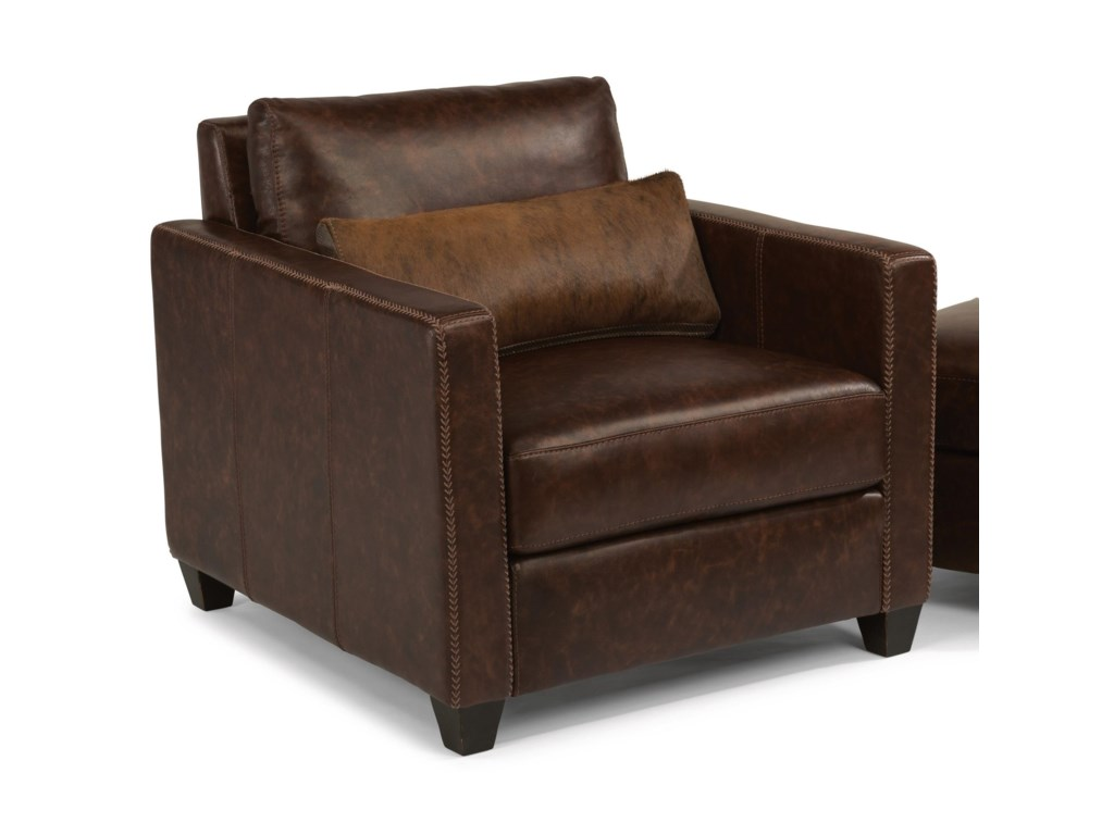 Latitudes roscoe urban rustic chair with hair on hide leather pillow by flexsteel