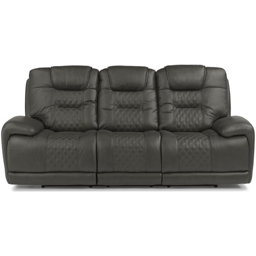 Flexsteel Latitudes - Royce Contemporary Power Reclining Sofa with Power Headrest and Lumbar