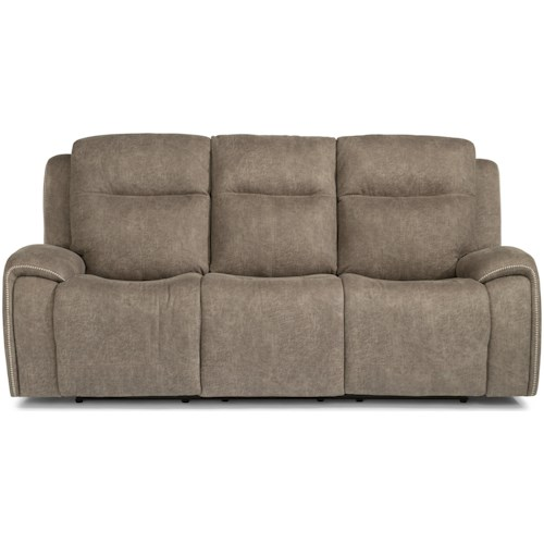 Flexsteel Latitudes - Solo Contemporary Power Reclining Sofa w/ Power Headrests & Accent Stitching