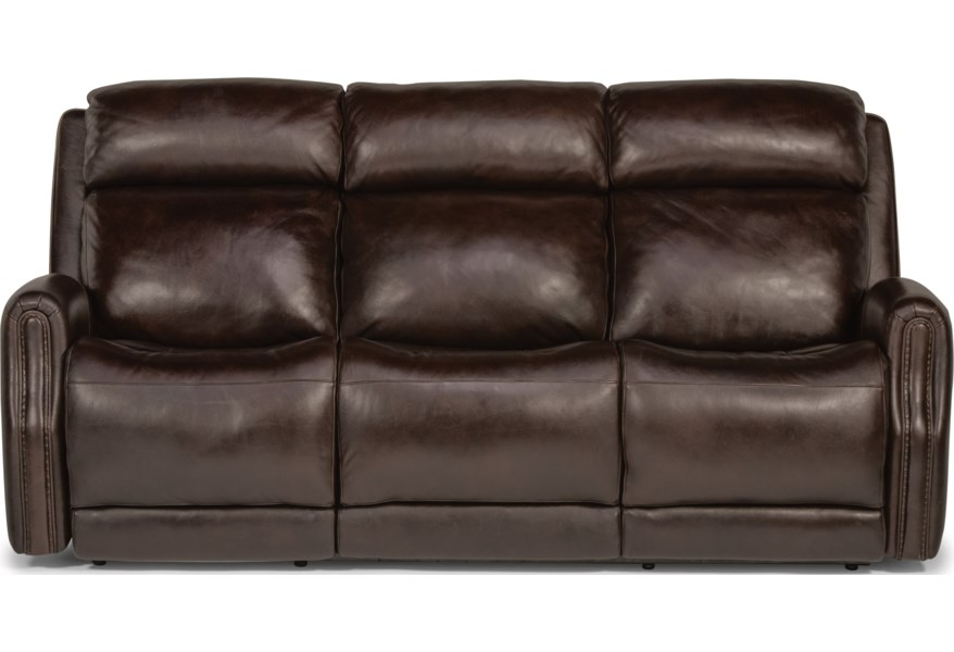 Latitudes - Stanley Transitional Power Leather Sofa with Power Headrest by  Flexsteel at Dunk & Bright Furniture