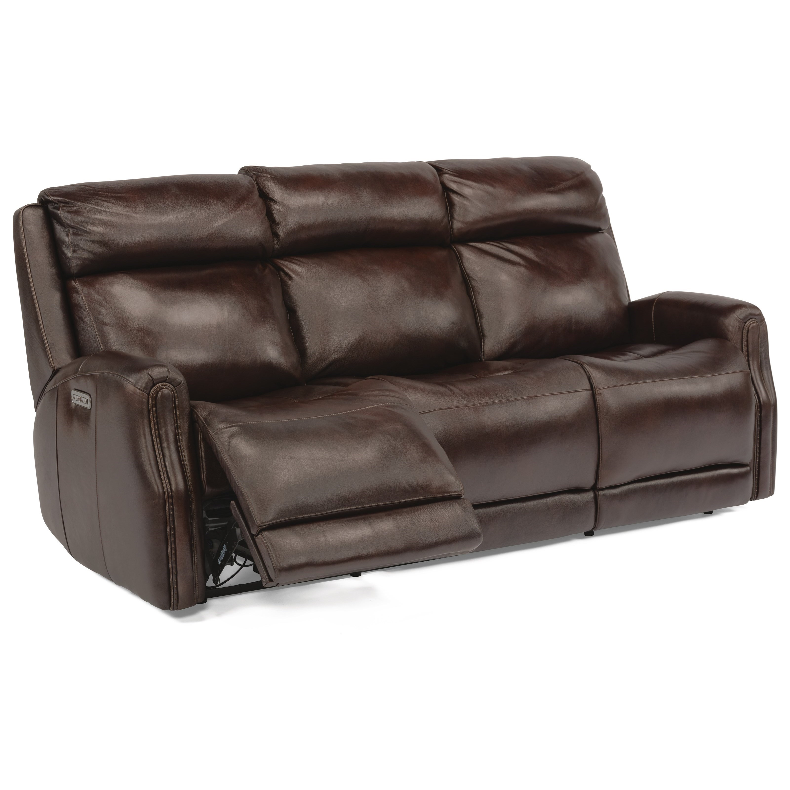 - Flexsteel Latitudes - Stanley Transitional Power Leather Sofa With