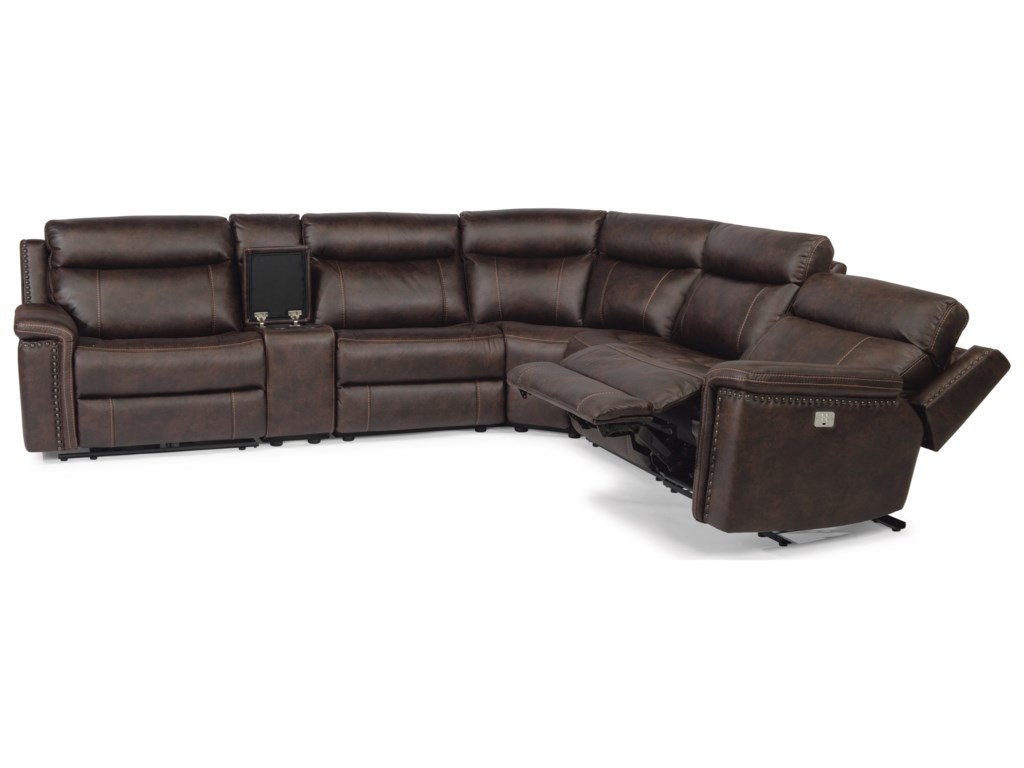 Flexsteel Latitudes - Trevor Rustic 6 Piece Reclining Sectional with ...