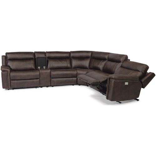 Flexsteel Latitudes - Trevor Rustic 6 Piece Reclining Sectional with USB Ports and Built-In Storage