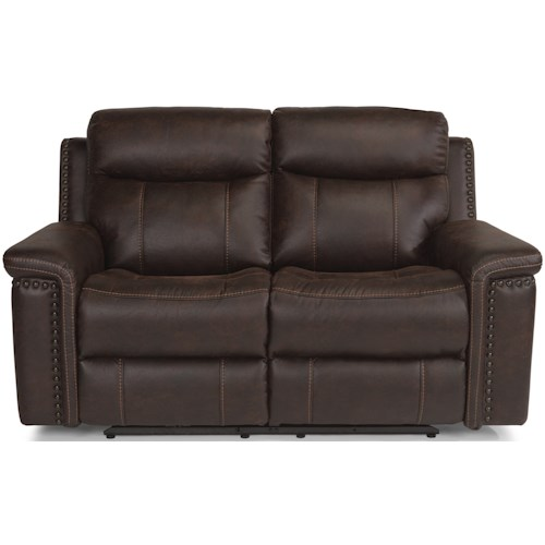 Flexsteel Laudes Trevor Rustic Reclining Love Seat With Headrests And Usb Ports
