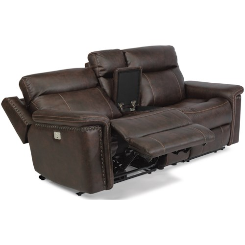 Flexsteel Latitudes - Trevor Rustic Power Reclining Console Love Seat with Power Headrests and USB Ports