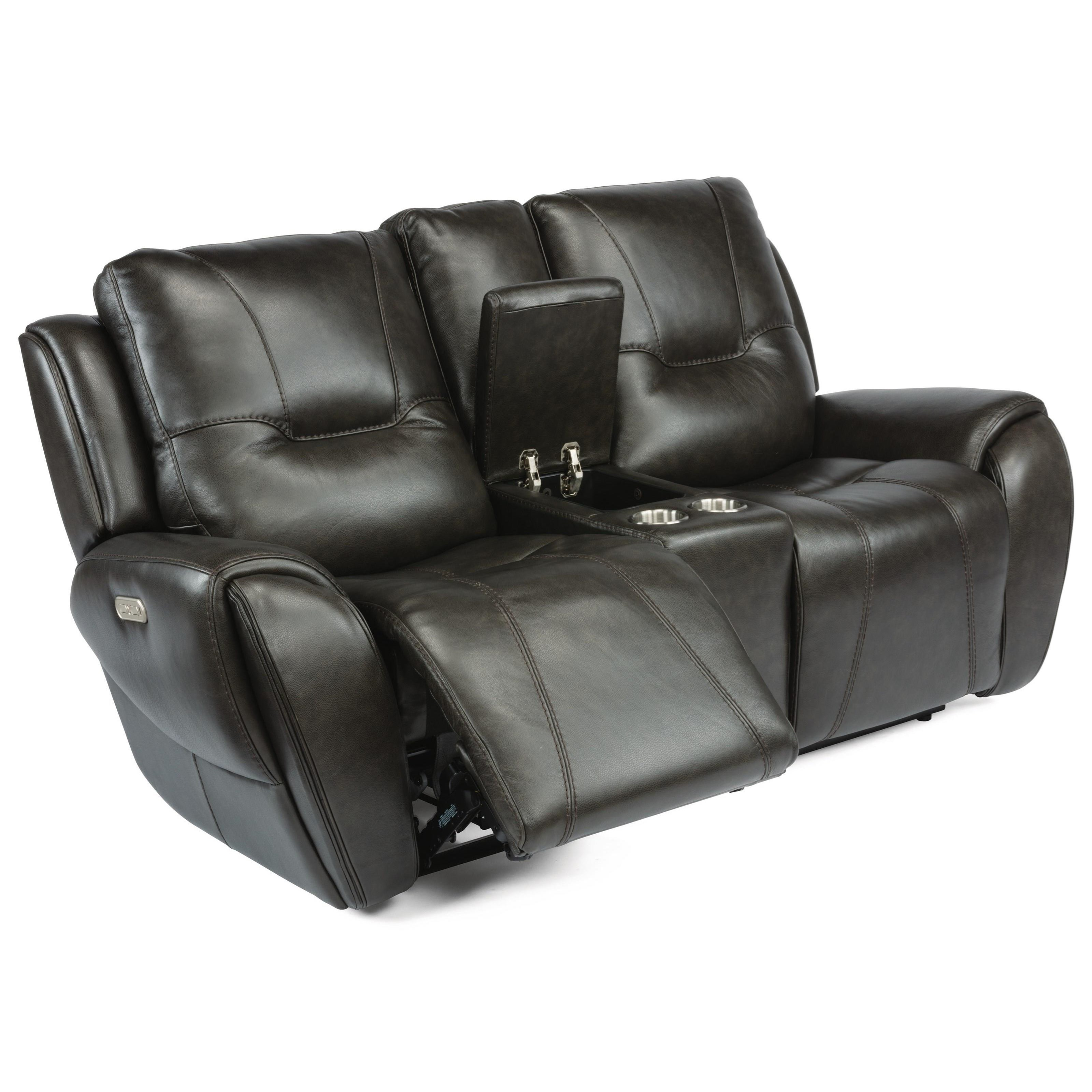 Contemporary Power Reclining Console Loveseat with Power Headrests and Cup Holders