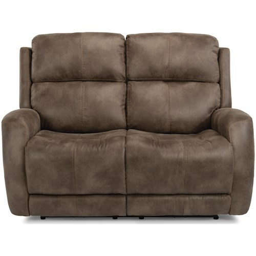 Flexsteel Latitudes - Zelda Casual Power Reclining Love Seat with Power Headrest & Power Adjustable Lumbar Support