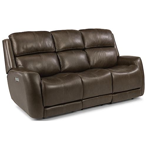 Flexsteel Latitudes Zelda Casual Power Reclining Sofa With Headrest Adjule Lumbar Support