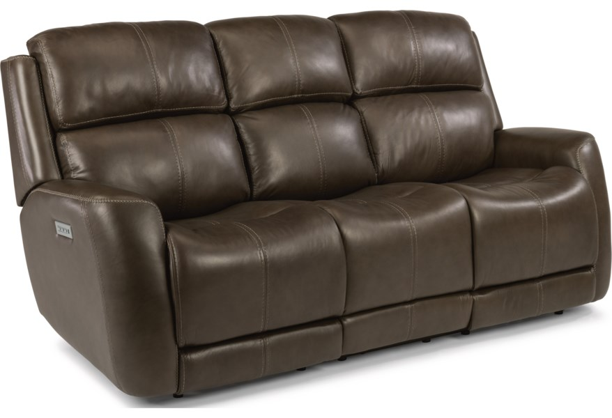 Laudes Zelda Casual Reclining Sofa With Headrest Adjule Lumbar Support By Flexsteel At Johnny Janosik