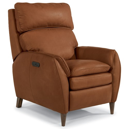 Flexsteel Latitudes-Amelia Casual Leather Power Recliner with Power Headrest and USB Port