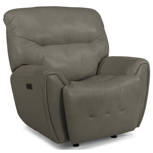 Flexsteel Latitudes-Blaise Contemporary Power Gliding Recliner with Power Headrest & USB Port