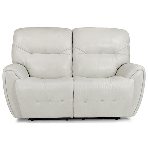 Flexsteel Latitudes-Blaise Contemporary Power Reclining Love Seat with Power Headrest and USB Port
