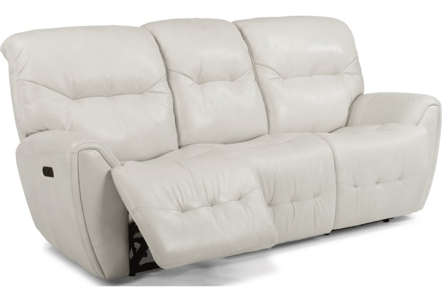 Latitudes-Blaise Contemporary Power Reclining Sofa with Power Headrest and  USB Ports by Flexsteel at EFO Furniture Outlet